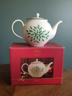 LENOX Holiday Carved Teapot Ivory with Holly New in Box