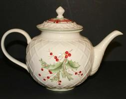LENOX HOLIDAY GATHERINGS CARVED TEAPOT 1st Quality NEW in BO