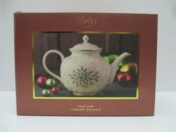 Lenox Holiday Gold-Banded Carved Teapot