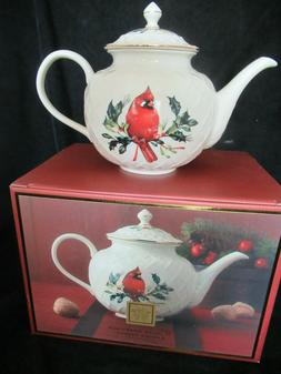 Lenox Holidays Winter Greetings Carved Teapot Cardinal Holly