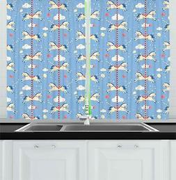 "Horse Kitchen Curtains 2 Panel Set Home Decor Drapes 55"" X 3"