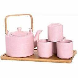 HSTS-KYTPNK, Ceramic Teapot With Stainless Steel Infuser And