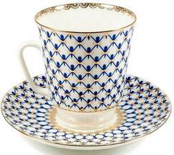 Imperial Lomonosov Porcelain Cobalt Net Teacup /Coffee Cup S