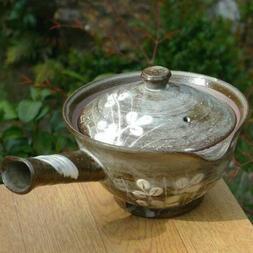 Kyusu Kyo Kiyomizu yaki ware Tea pot Hagi flower Shiro-mori