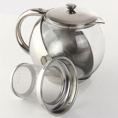 900ML Stainless TeaPot With Tea Strainer Infuser T