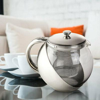 900ml stainless steel glass teapot with tea