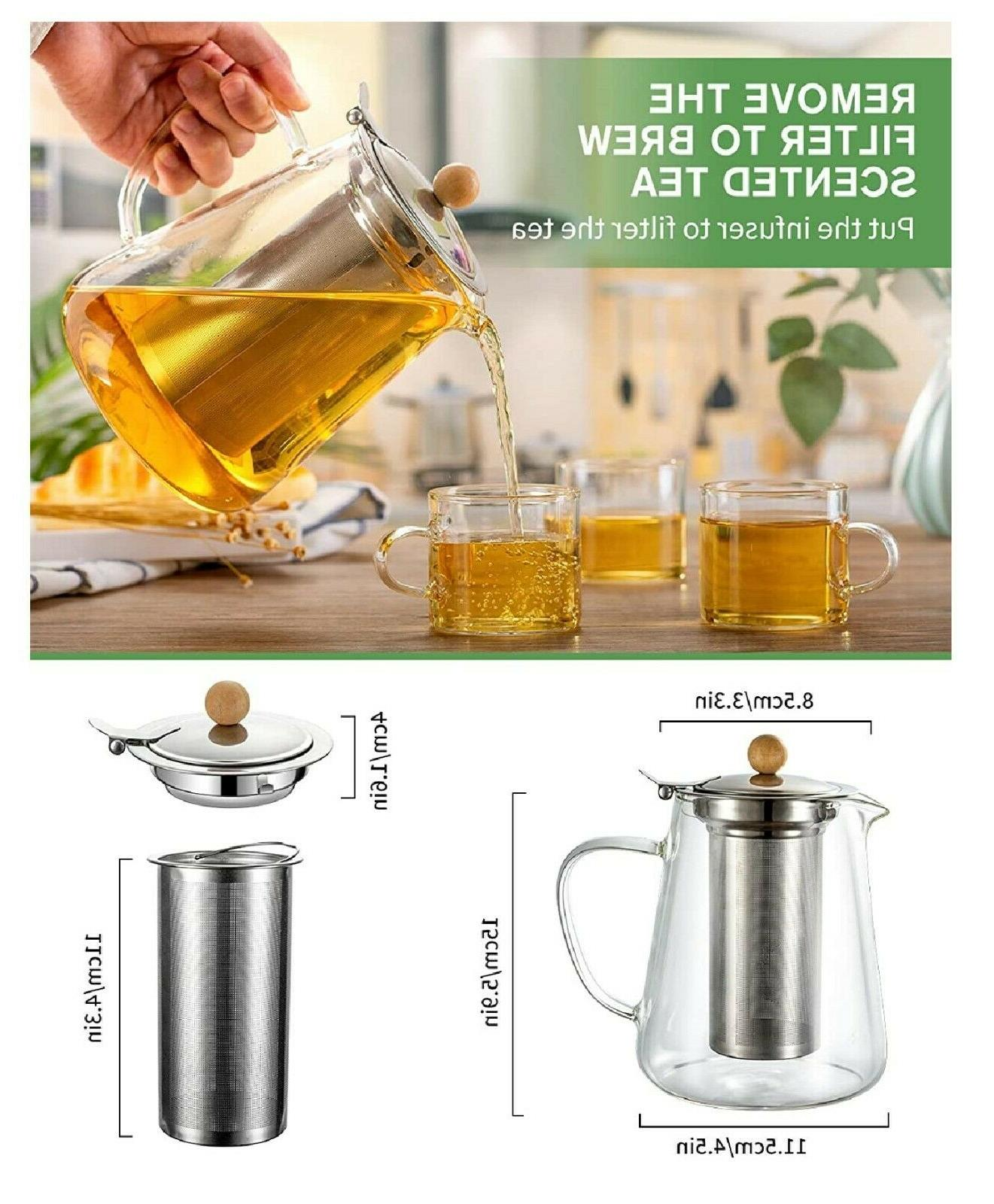 950ml/32oz Teapot with Infuser Tea Safe kettle Loose Leaf Tea Pot
