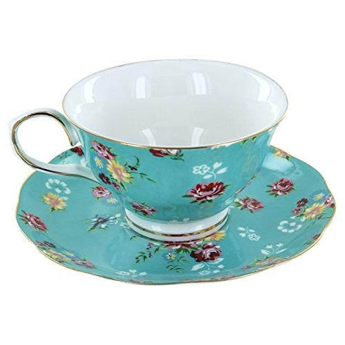 Shabby Rose Turquoise Porcelain Set