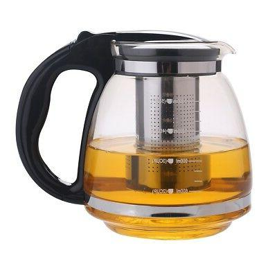 1.6 Quart Glass Tea Kettle Pot With Stainless Steel Filter,