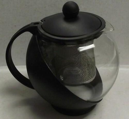 Housewares Black Glass Teapot & Stainless steel Strainer Fil