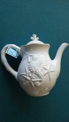 Blue Sky Clayworks Ceramic Teapot Sea Horse & Starfish Embos