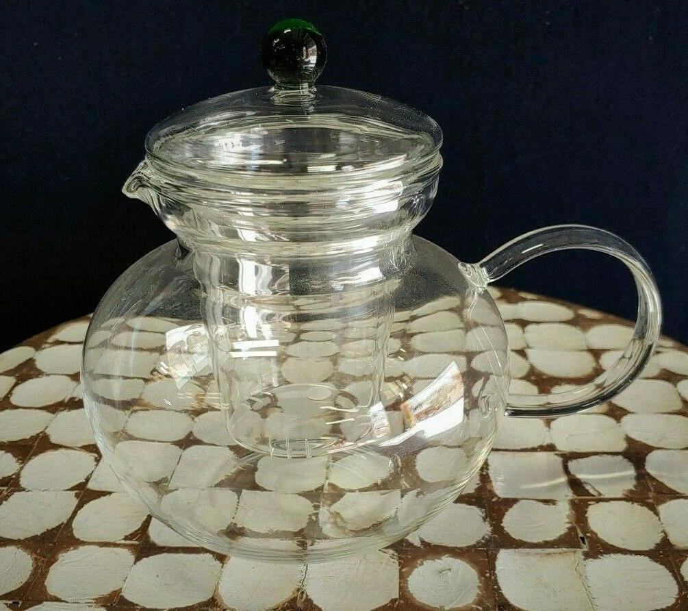 emerald glass teapot with infuser 40 oz