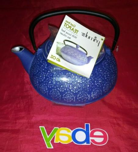 Primula Floral Cast Iron Stainless Tea Kettle NEW