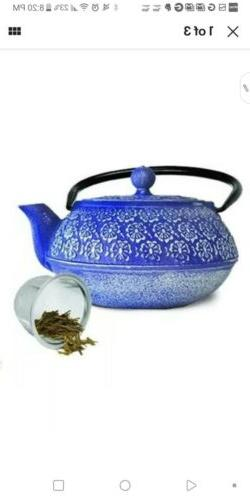 floral 40oz cast iron teapot stainless steel