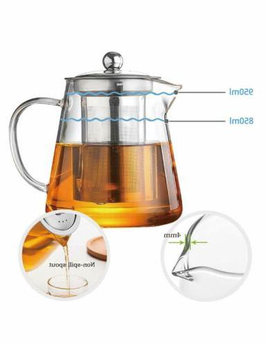 Glass Teapot Resistant Tea with Removable Infuser