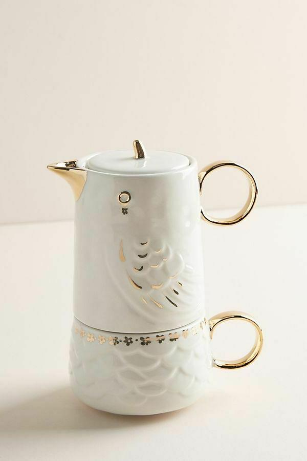 NWT Anthropologie Tea For One Lovebirds Set- Sold Out Teapot