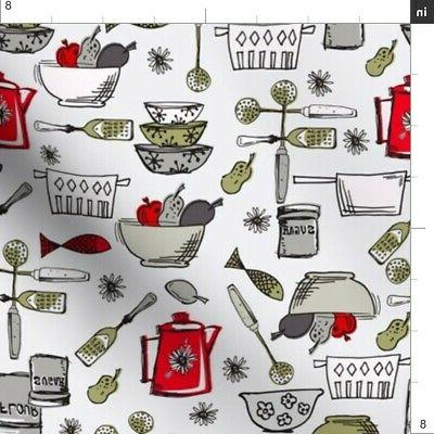 Painted Pantry Cookware Fabric Printed by