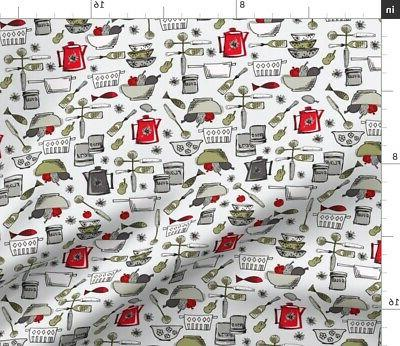 painted pantry kitchen retro cookware teapot fabric