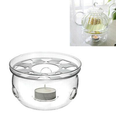 Heat-Resisting Teapot Warmer Base Clear Glass Round Shape In