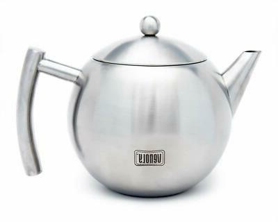 stainless steel tea pot with removable infuser