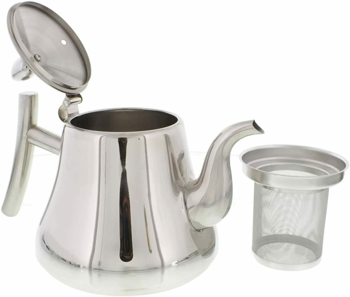 Tea Kettle 1L, 2L Stove-top Strainer Heavy Pot