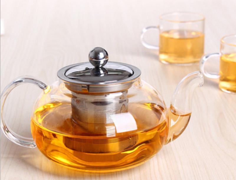 1000ml Borosilicate Glass Teapot Steel Infuser Loose Leaf Tea