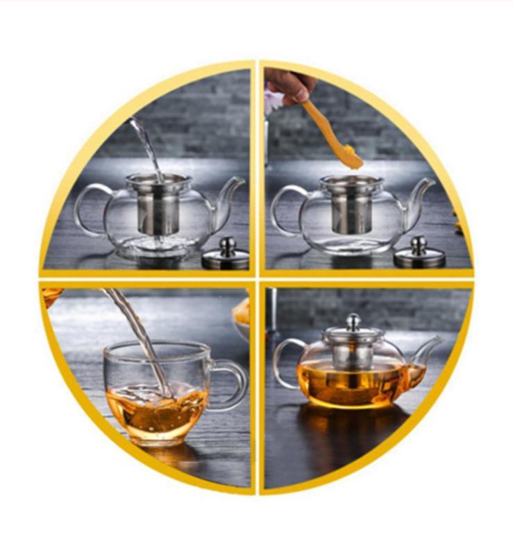 1000ml High Borosilicate Teapot Stainless Loose
