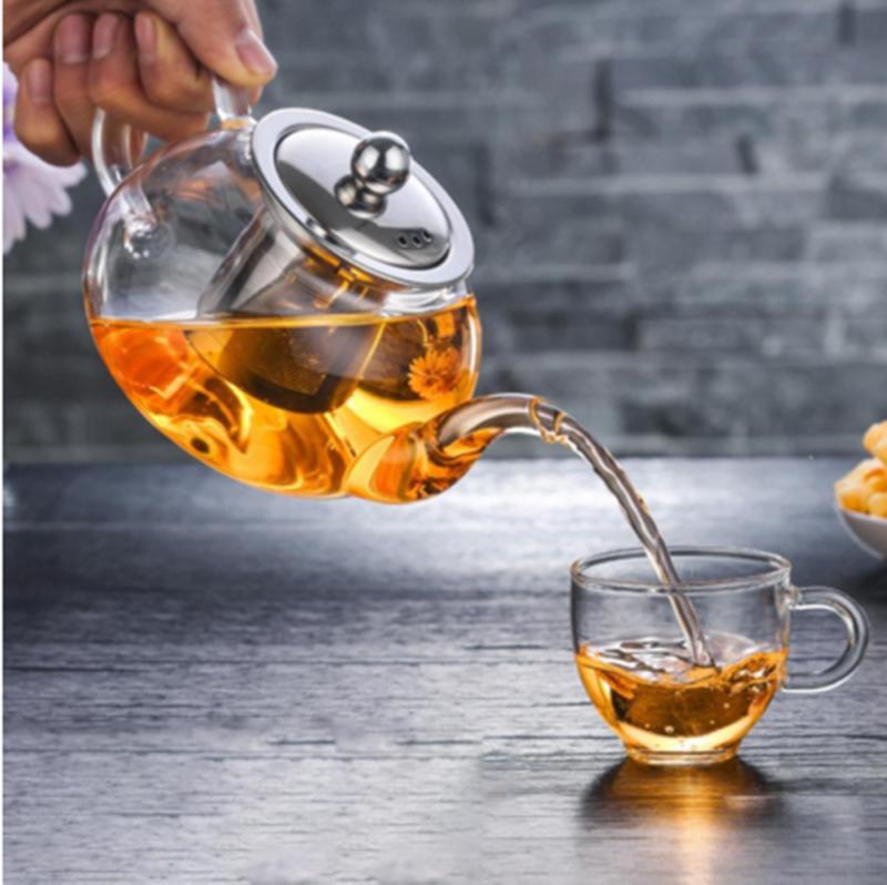 1000ml High Borosilicate Glass Teapot Stainless Steel Loose Leaf Tea
