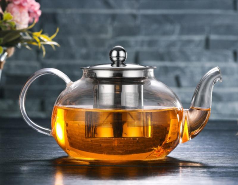 1000ml High Borosilicate Glass Teapot Stainless Loose