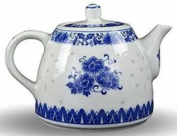 Large Teapot Blue and White Porcelain 6 Cup Store 56 Ounce C