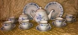 Lynn's Fine China Tea Set Blue Rose  Porcelain Teapot 6 Te