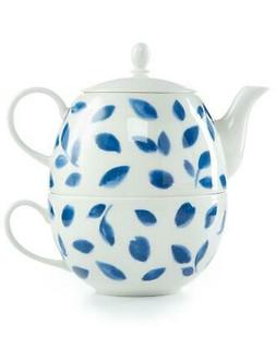 Martha Stewart Stockholm Blue 3 Piece Tea For One Set Teapot
