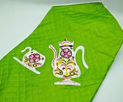 MCM Green Appliance Cover White Teapot Coffee Pink Flowers E