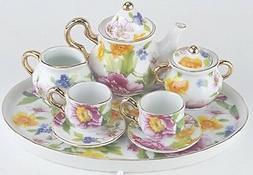 MINIATURE CAMELLIAS PORCELAIN TEA SET TEAPOT SUGAR BOWL CREA
