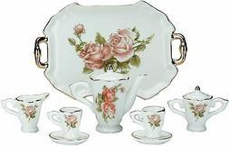 MINIATURE Collectible ROSE Porcelain Tea Set Teapot Sugar Bo