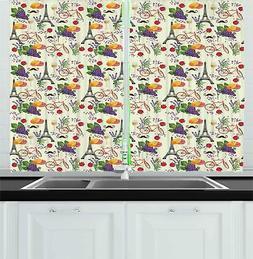 Modern Romantic Kitchen Curtains 2 Panel Set Window Drapes 5