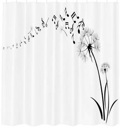 Ambesonne Music Shower Curtain, Flying Dandelions with Notes