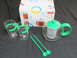 New Bodum Assam Tea Set French Press Cups Spoons Green Teapo
