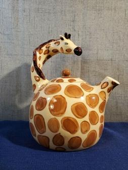 "NEW Blue Sky Ceramic Giraffe Teapot, 8 x 6.5 x 8.5""  Hand Pa"