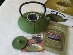 NEW IN BOX PRIMULA Cast Iron Tea Pot Green Dragonfly Infuser