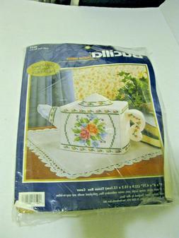 NEW Bucilla Plastic Canvas Teapot Tissue Box Cover Kit #6243