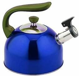 new stainless steel whistling blue tea kettle