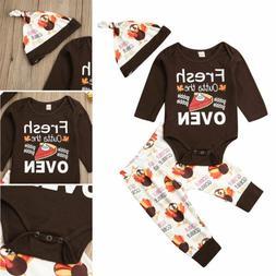 Newborn Baby Boys Thanksgiving Romper Pants Hat Cotton Outfi