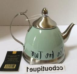 """NWT Creative Home Lt Green """"Tea for Two"""" Stainless Infuser T"""