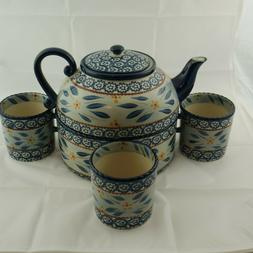 Temptations Old World Blue Complete Set Tea Pot Warmer & 4 T