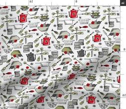Painted Pantry Kitchen Retro Cookware Teapot Fabric Printed
