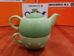 Le Creuset Palm Green Tea For One 10oz Stoneware teacup teap