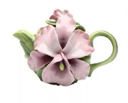 Pink Orchid Teapot Cosmos Gifts-NWT Fine Detailed Porcelain