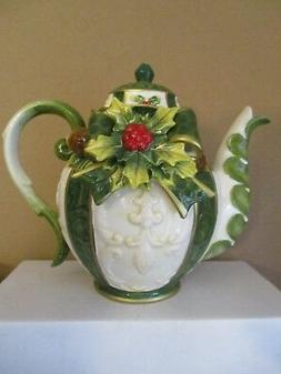 Porcelain Ceramic Holly Teapot  Cosmos Gifts  Emerald Holida
