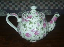 Porcelain Rosebud Chintz Victorian Teapot Tea Pot - 4 Cup -